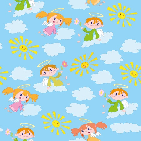 illustration of a pattern angels and suns Vector