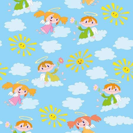 baby angel: illustrazione di un modello e angeli soli