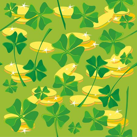 illustration of a pattern clover money Vector