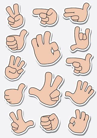 illustration of a collection of sticker gestures Vector