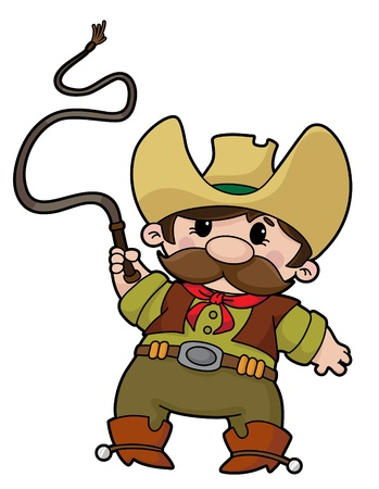 illustration of a cowboy with whip Vector