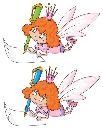 illustration of a fairy and реn Vector