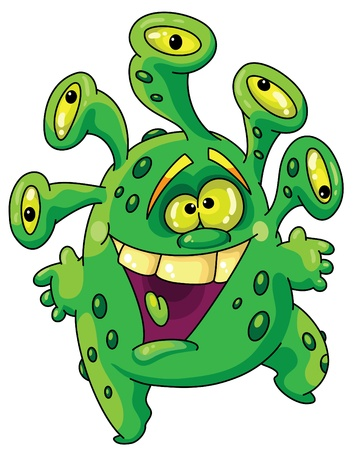 bacteria cartoon: illustration of a funny green monster