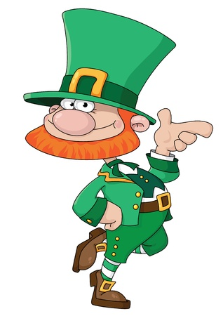 clovers: illustration of a funny Leprechaun