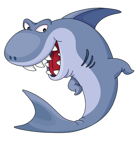面白い青鮫のイラスト