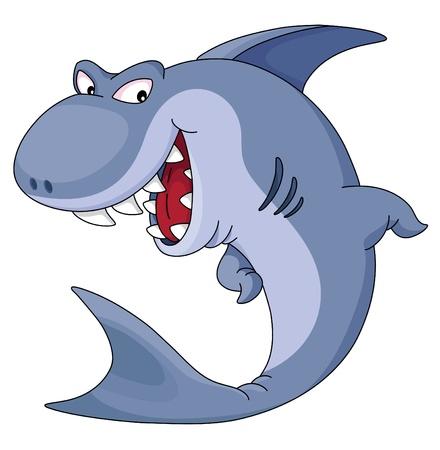 shark cartoon: Un ejemplo de tiburón azul divertida Vectores