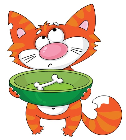 animal pussy: illustration of a hungry cat Illustration