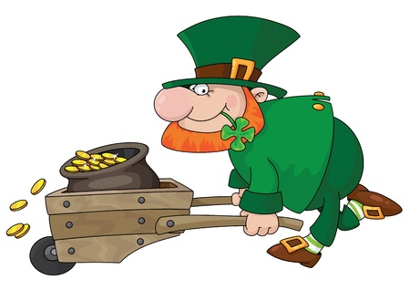 cartoon shamrock: illustration of a leprechaun
