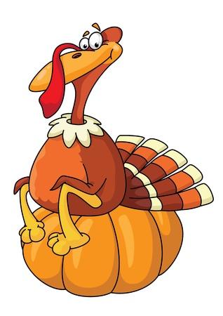 illustration of a turkey on pumpkin Vector
