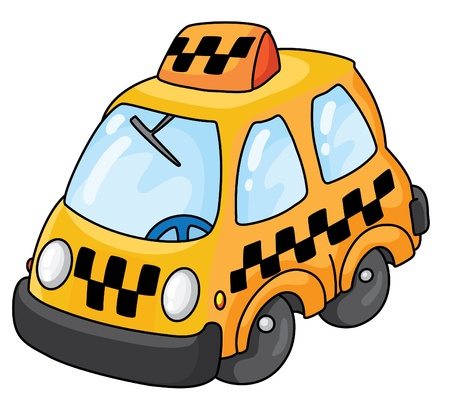 An illustration of a yellow taxi Vector