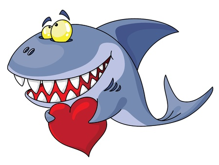 love cartoon: An illustration of a shark and red heart Illustration