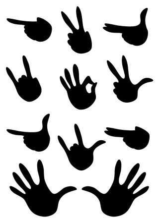 body language: illustration of a set of gestures hand Illustration