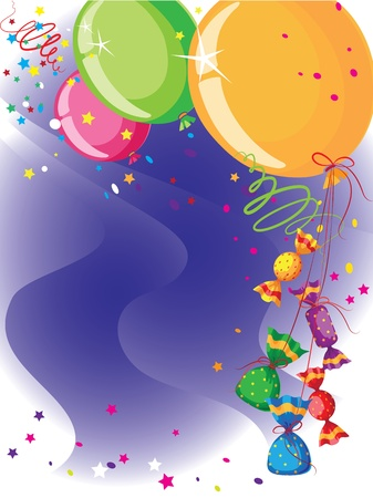 mint candy: illustration of a balloons and candy card