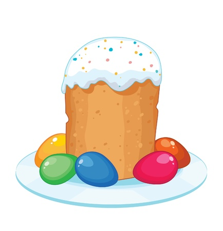 Traditional Easter cake with eggs