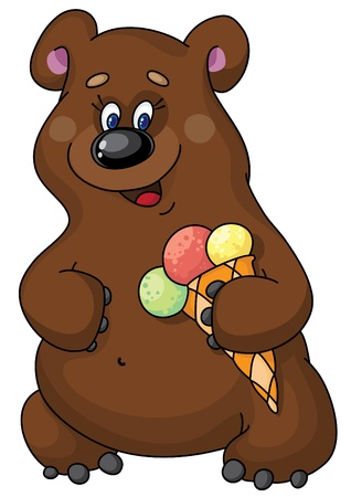 illustration of a funny bear and  ice cream Vector
