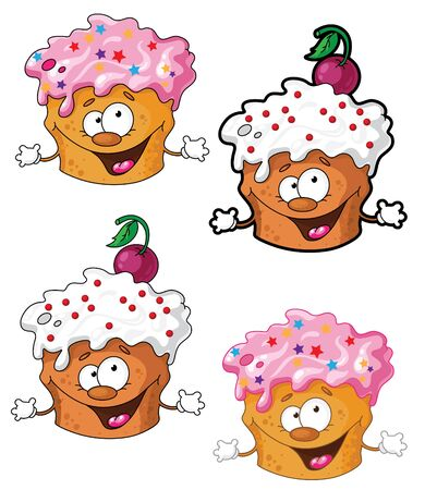 cherry pie: illustration of a funny cake Illustration
