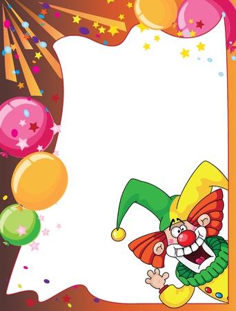 tonto: ilustración de una divertida tarjeta de payaso Vectores