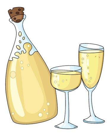 illustratie van een glazen fles en
