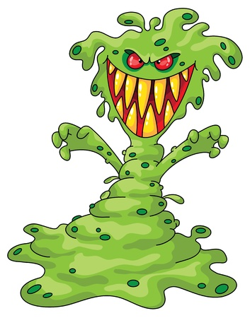 bacteria cartoon: Illustration of a scary monster Illustration