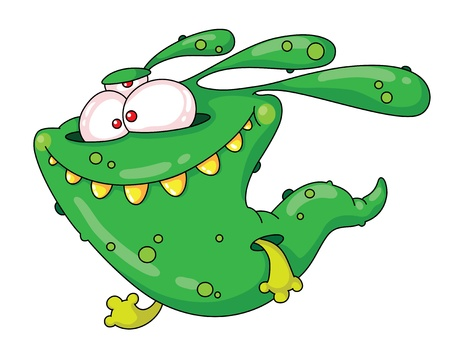 cartoon monster: illustration of a running monster