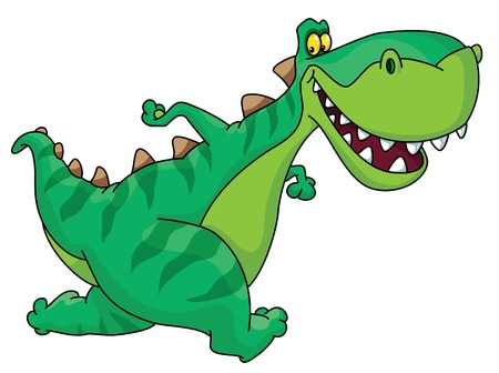 dinosaurio caricatura: Una ilustración de un dinosaurio corriendo