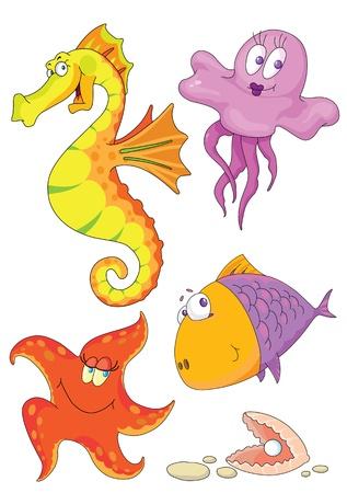 Illustratie van verschillende zeedieren: vis, schelp, zeesterren, zee-paard, kwallen. Vector Illustratie