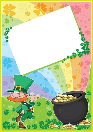 leprechaun background: illustration of a rainbow clover card Illustration