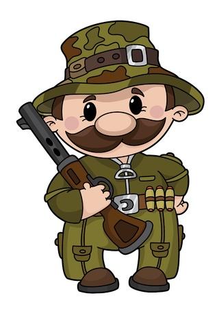 fusil de chasse: Illustration d'un chasseur de bande dessin�e