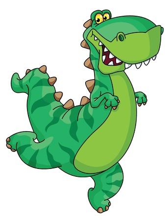 dinosaurio caricatura: Una ilustración de un dinosaurio prisa Vectores