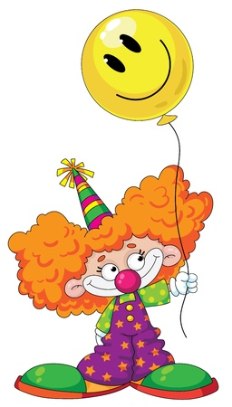 illustration of a kid clown with balloon