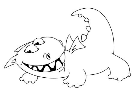 illustration of a comic dragon outlined Vector