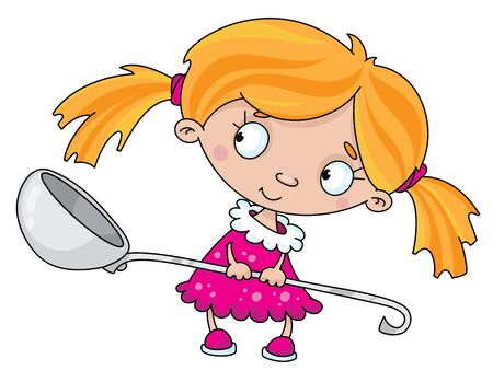 Illustration of a girl with a spoon Illustration