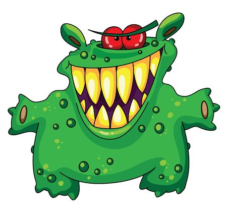 funny monster: illustration of a laughing green monster