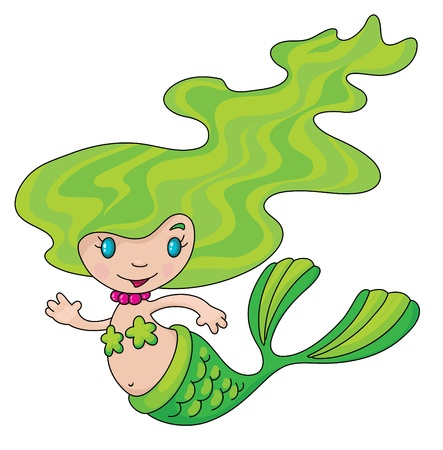 An illustration of a little mermaid Vector