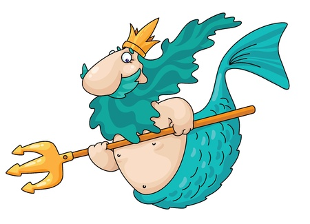 king neptune: An illustration of a merman Illustration