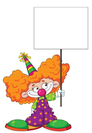 circus performer: illustration of a kid clown with blank sign
