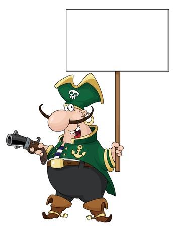 filibuster: illustrazione di un pirata con segno in bianco
