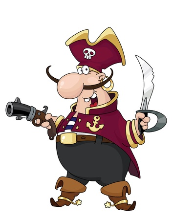 jolly: Illustration of armed pirate with sword and pistol