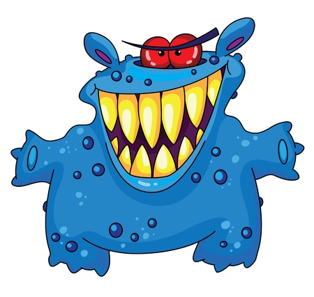 An illustration of a laughing monster Vector