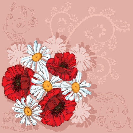 illustration of a poppies background Vector