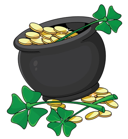 illustration of a pot and clover Vector