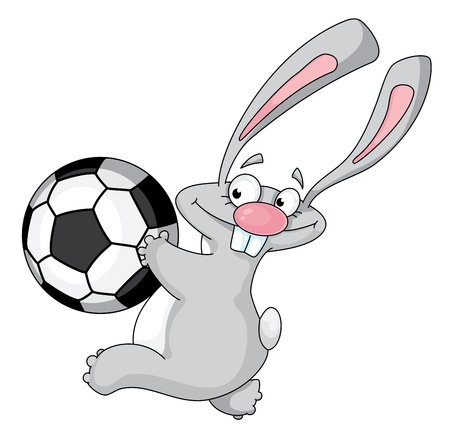 illustration of a rabbit and ball Vector