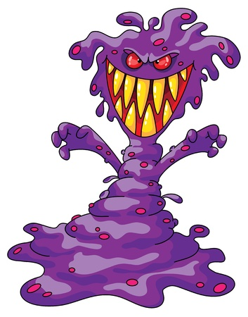 Illustration of a scary violet monster Vector