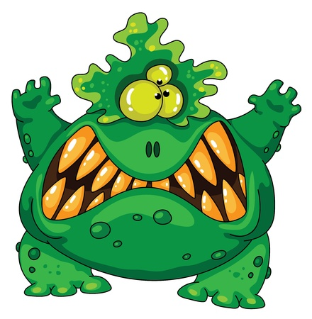 cartoon angry: Illustration of a terrible green monster