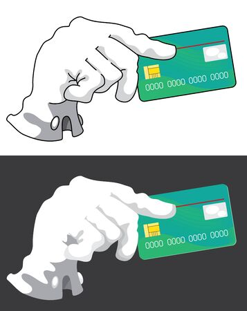 illustration of a hand with credit card Stock Vector - 11662611