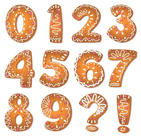 gingerbread: illustration of a cookies numbers and symbols Illustration