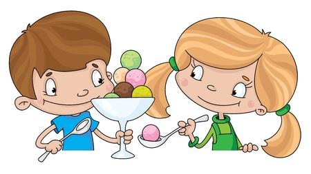 ni�os comiendo: ilustraci�n de una ni�a y un ni�o con helado Vectores
