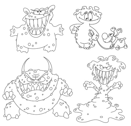 illustration of a collection of monsters Vector