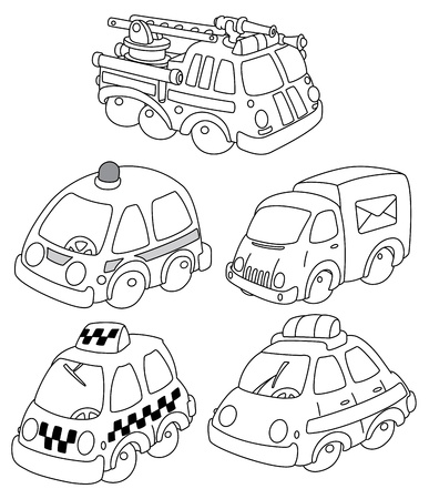 illustration of a funny car outlined Vector
