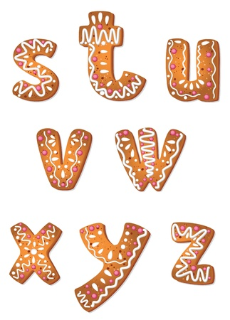 illustration of a set cookie letters S to Z